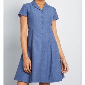 New ModCloth colored dot button collared dress